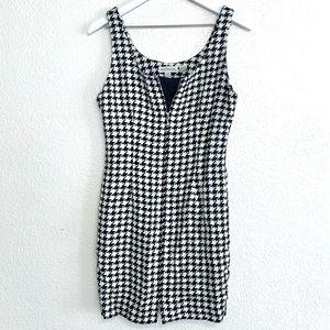 Vintage 90s Houndstooth Knit Zip Up Mini Dress